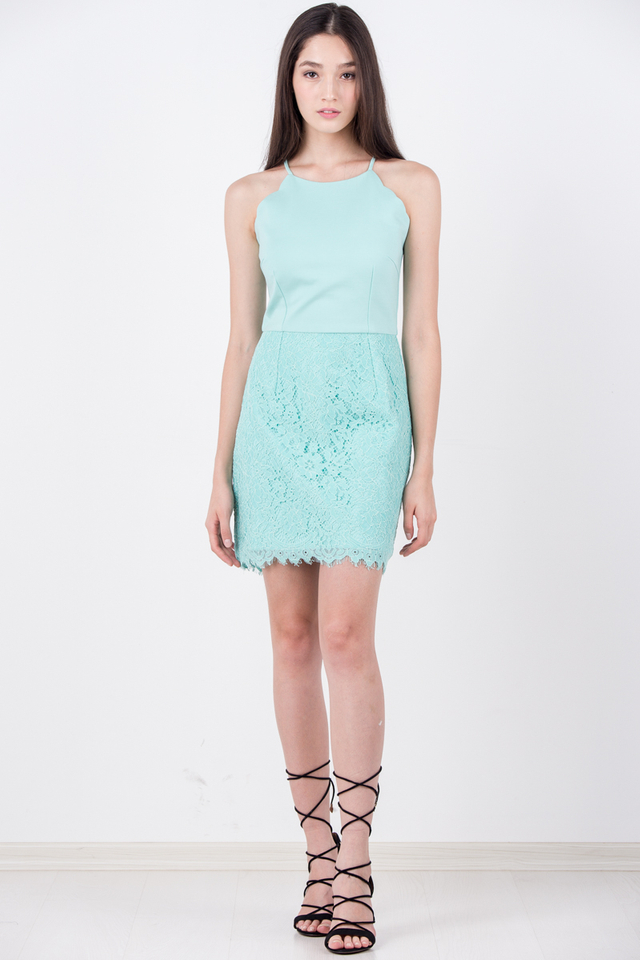 Gladys Scallop Lace Dress in Mint Green