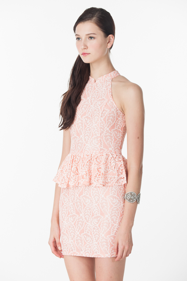 Cameron Peplum Lace Dress in Salmon Pink