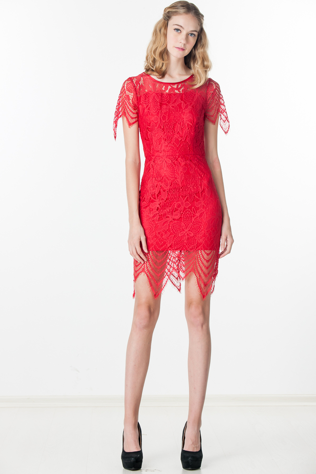 Pattie Lace Dress in Red (Size XS/S/M only)