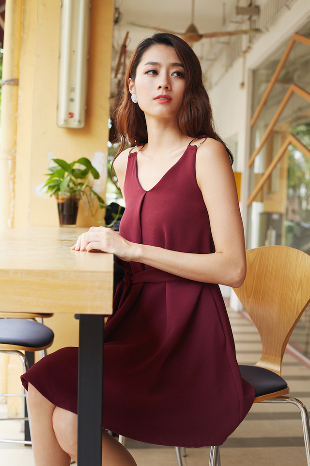Shannon Ring Dress in Wine Red