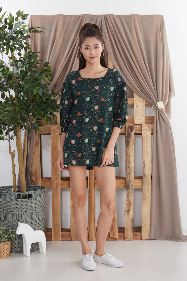 Kannery Printed Babydoll Romper in Green