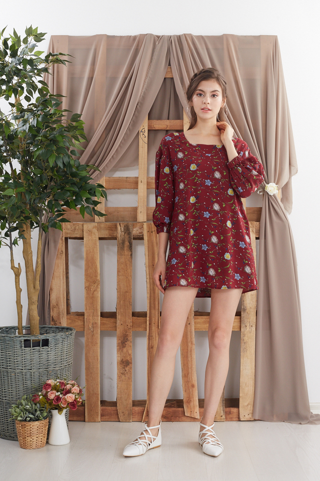Kannery Printed Babydoll Romper in Red