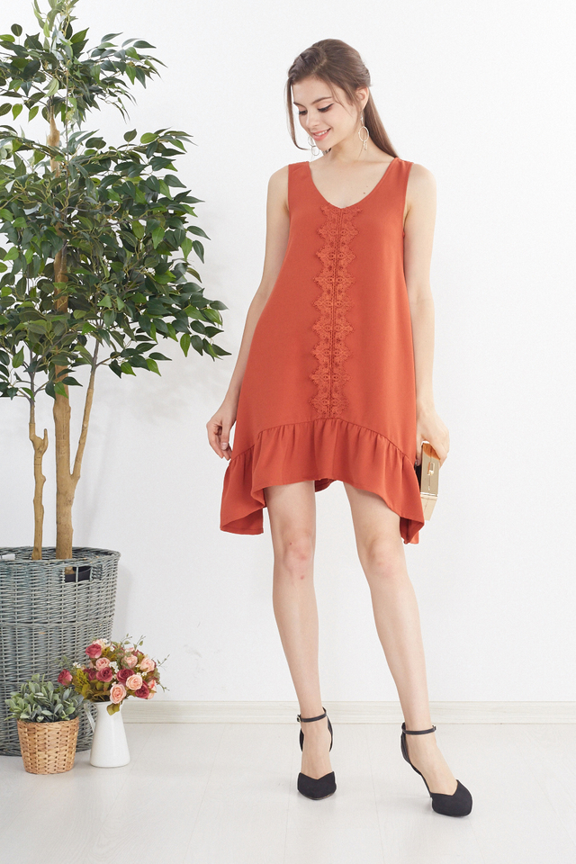 Kailyn Crochet Dress in Rust