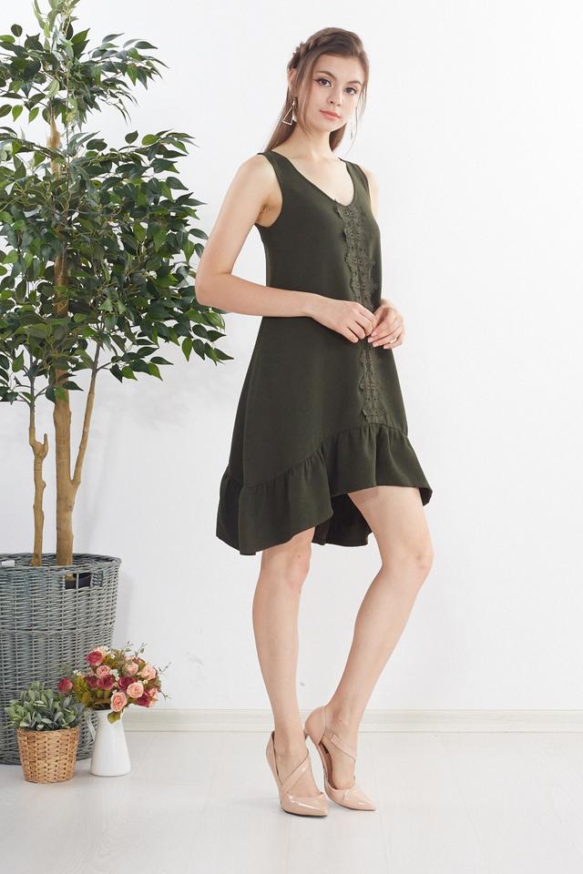 Kailyn Crochet Dress in Olive Green