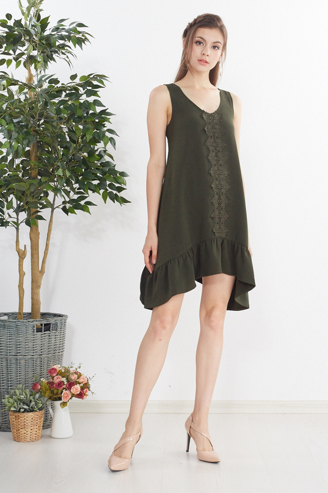 Kailyn Crochet Dress in Olive Green
