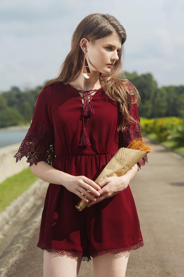 Trinley Crochet Romper in Wine Red