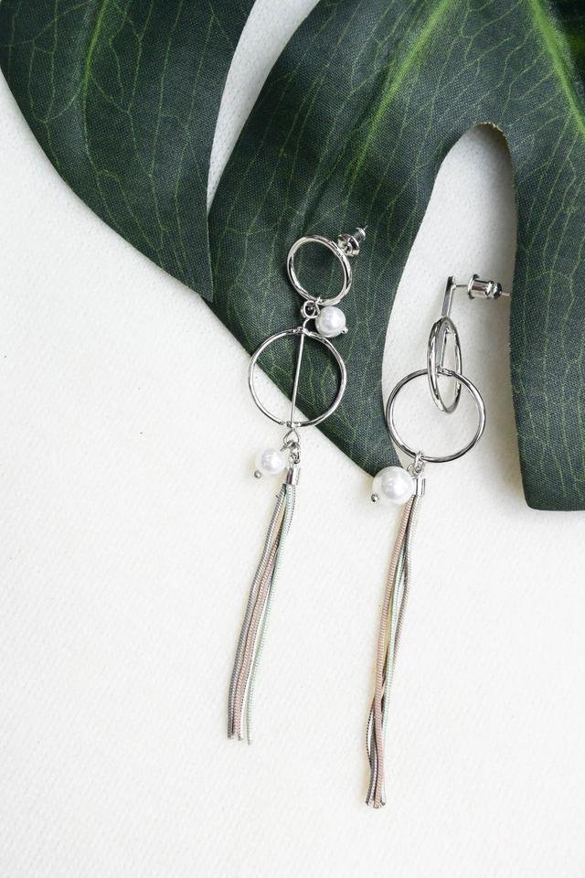 Celia Pearl Tassel Earrings in Silver