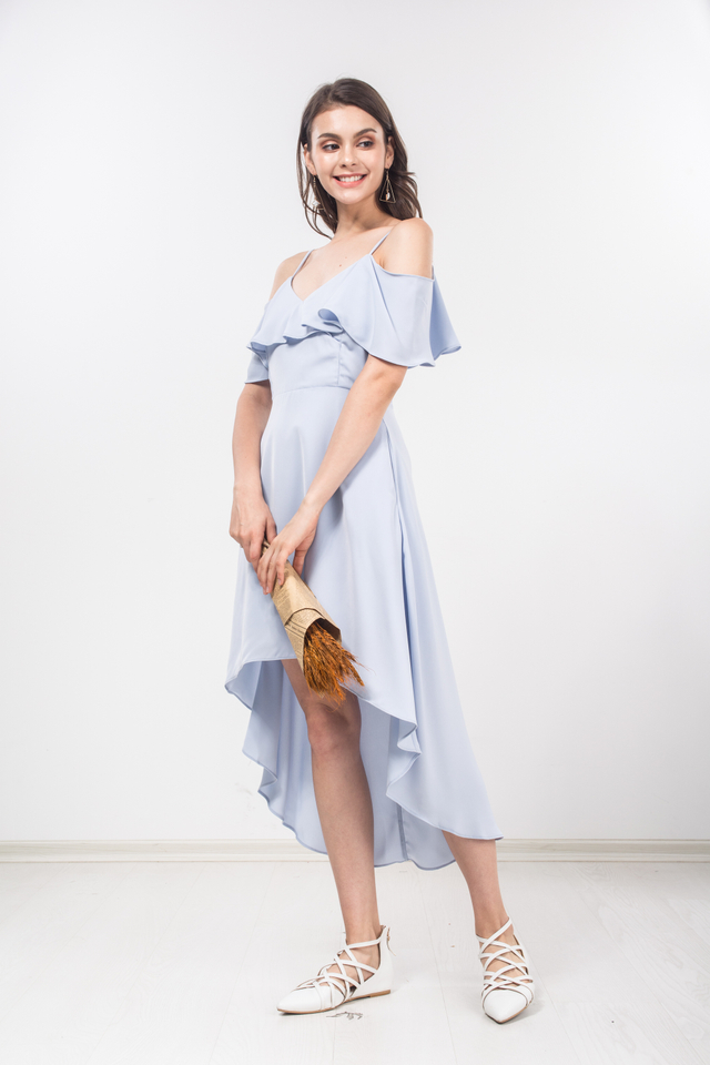 Valentine Midi Dress in Sky Blue