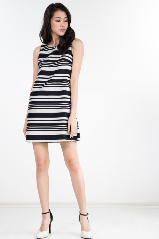 Lawrence Striped Dress in Black