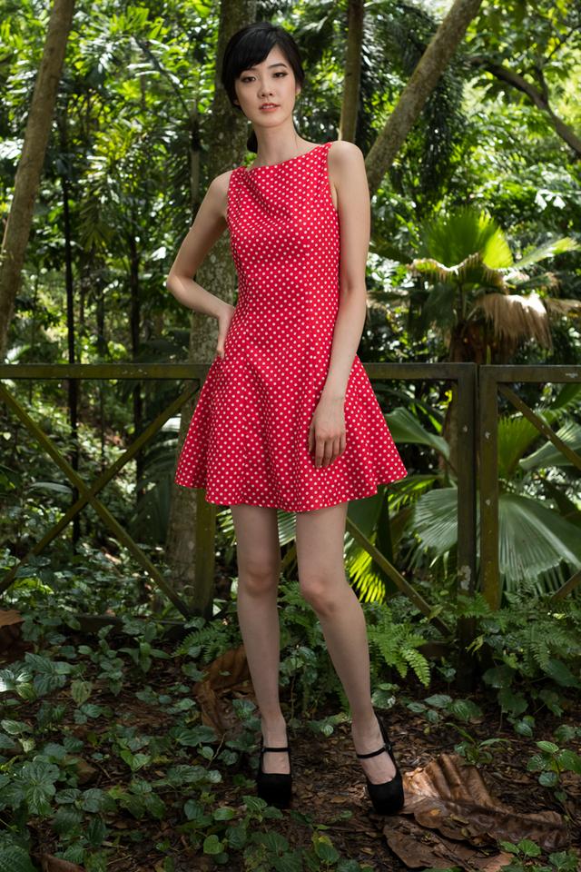 Aiden Dotty Dress in Red