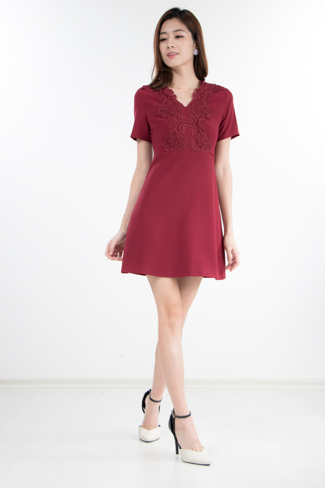 Mikae Crochet Dress in Wine Red (Size XS)