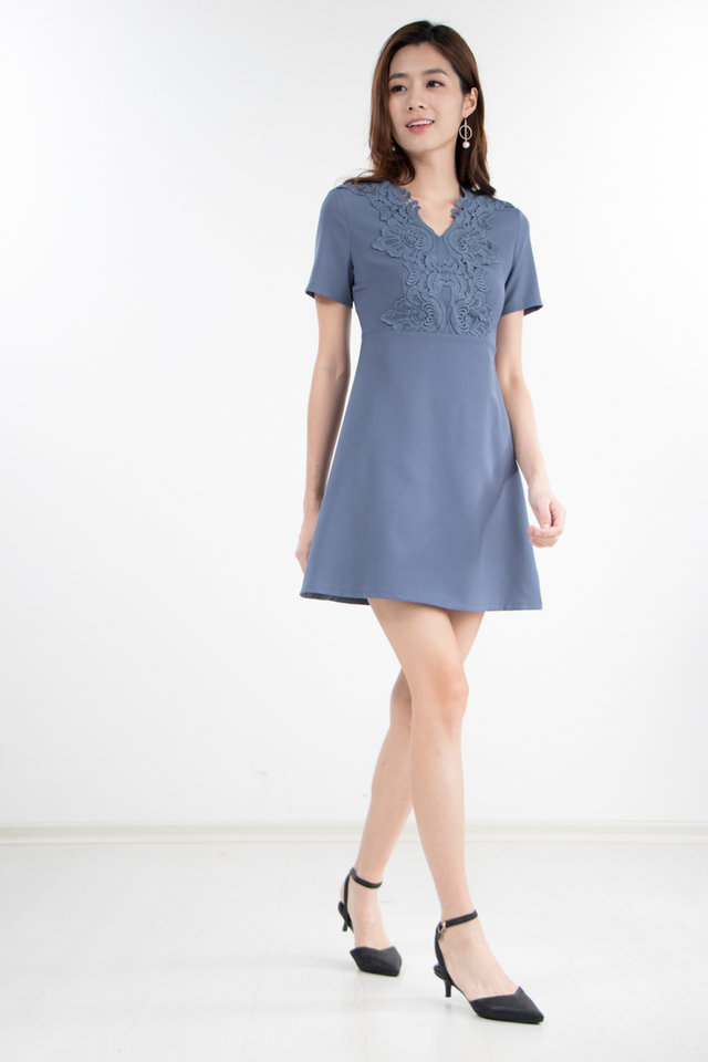 Mikae Crochet Dress in Dusty Blue (Size XS)
