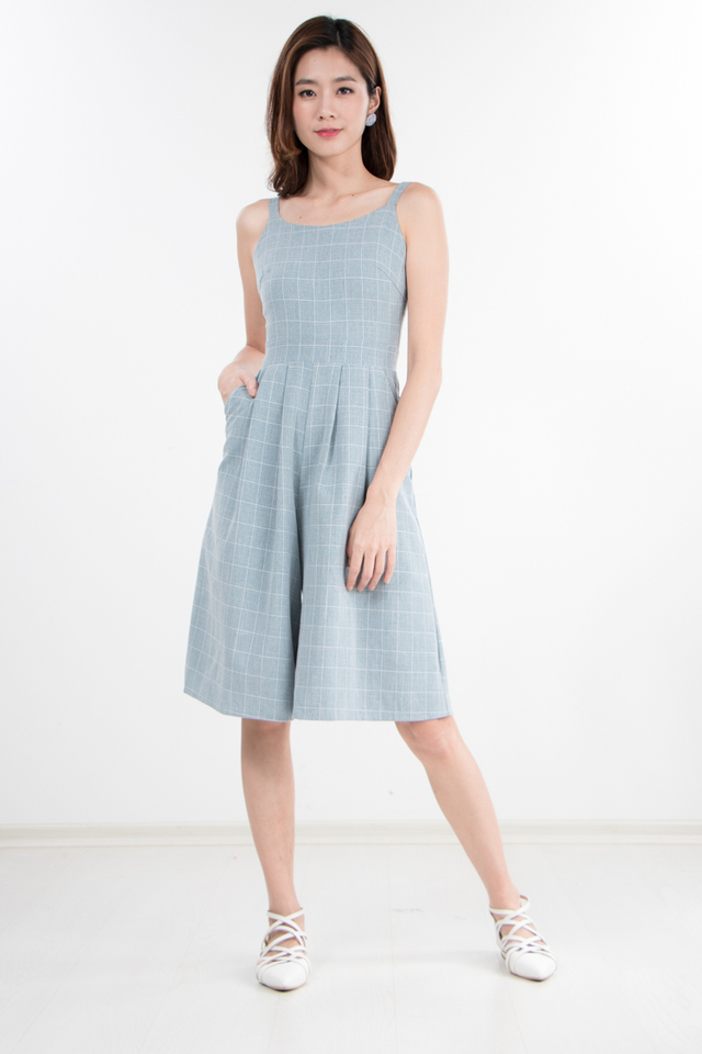 Restocked Nylia Checkered Jumpsuit in Turkish Blue