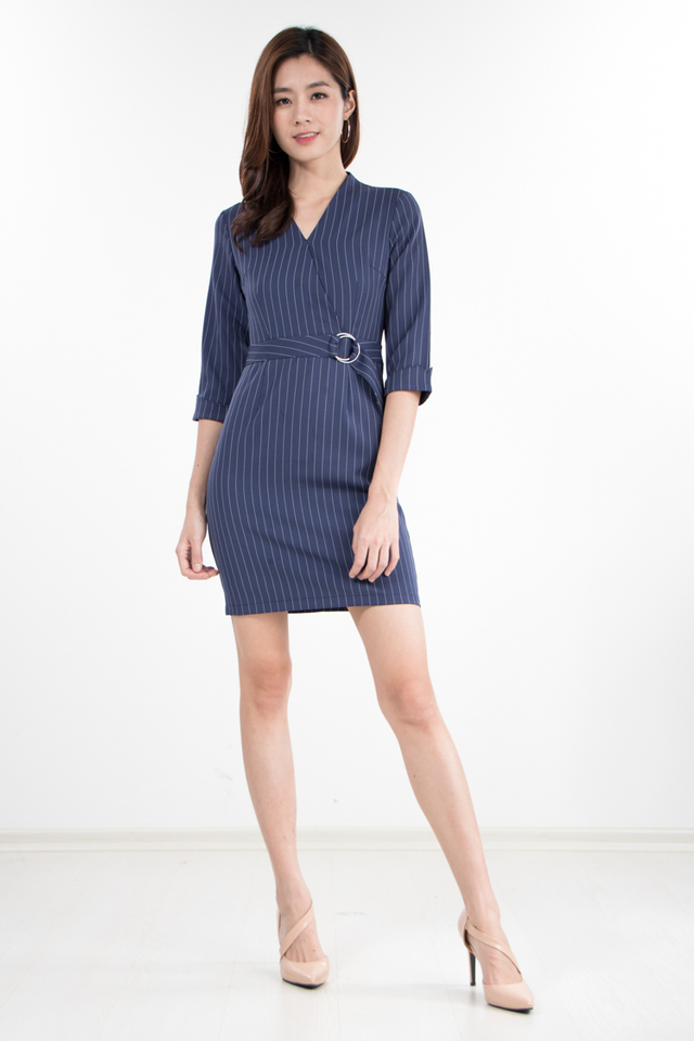 Tania Pin Stripes Dress in Navy Blue