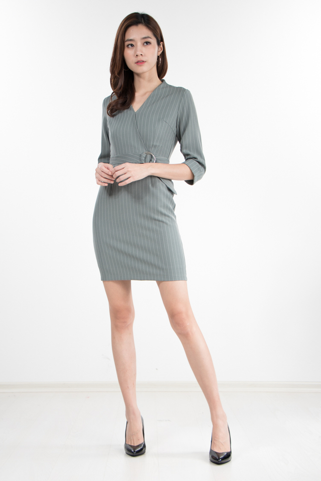 Tania Pin Stripes Dress in Jade