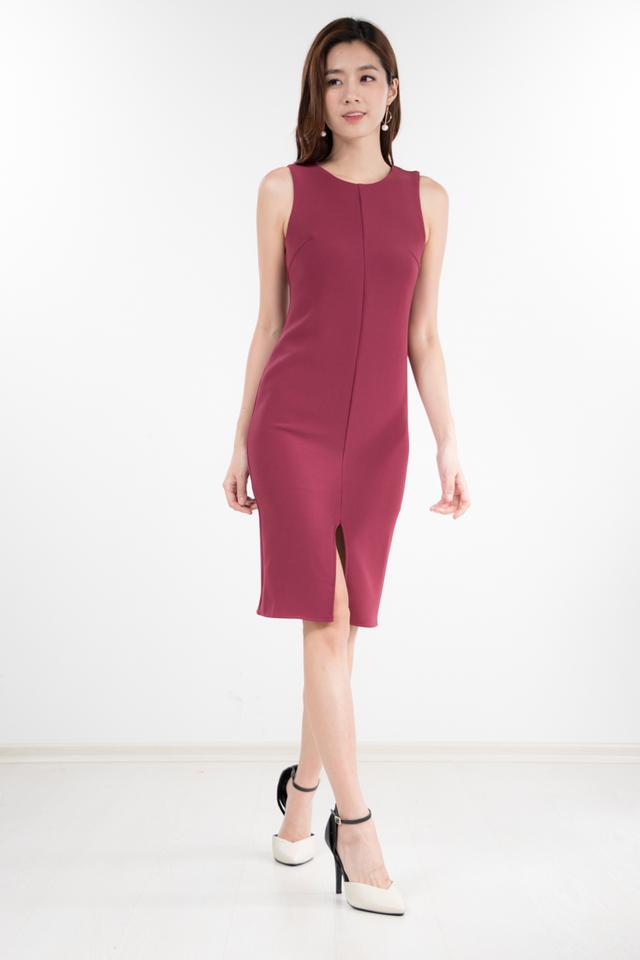 Lachina Midi Dress in Magenta