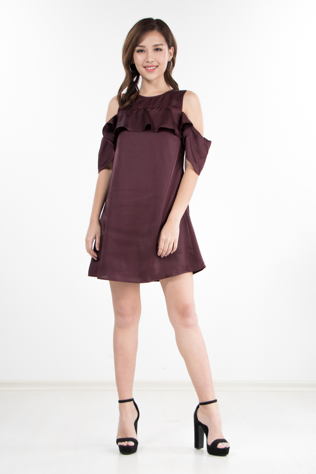 Barend Drop Shoulder Dress in Berry (Size XS/S/M)