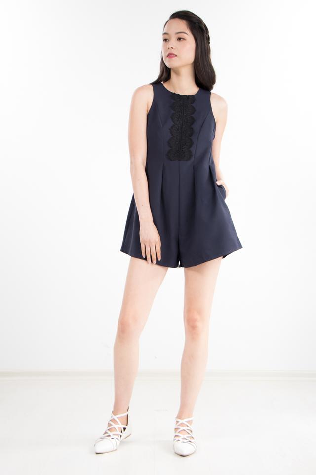 Jaycee Lace Romper in Navy Blue