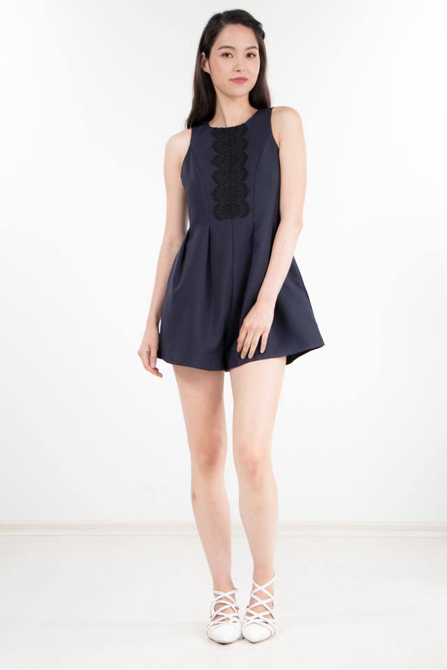 Jaycee Lace Romper in Navy Blue