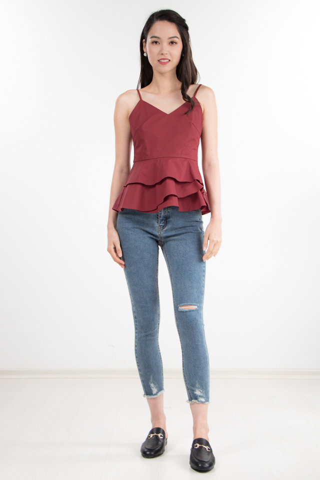 Sheena Peplum Top in Red