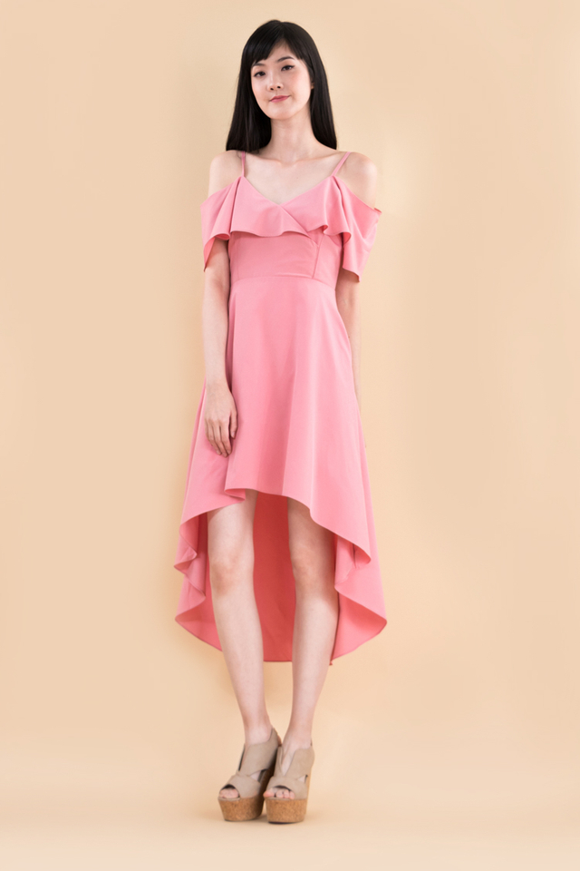 Arden Midi Dress in Rose Pink