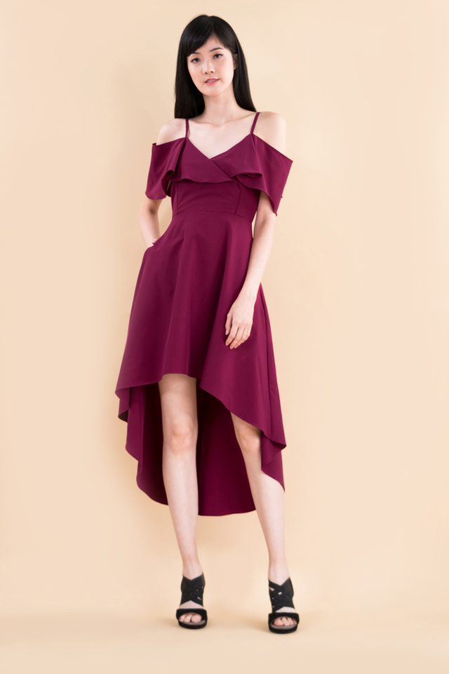 Arden Midi Dress in Deep Magenta