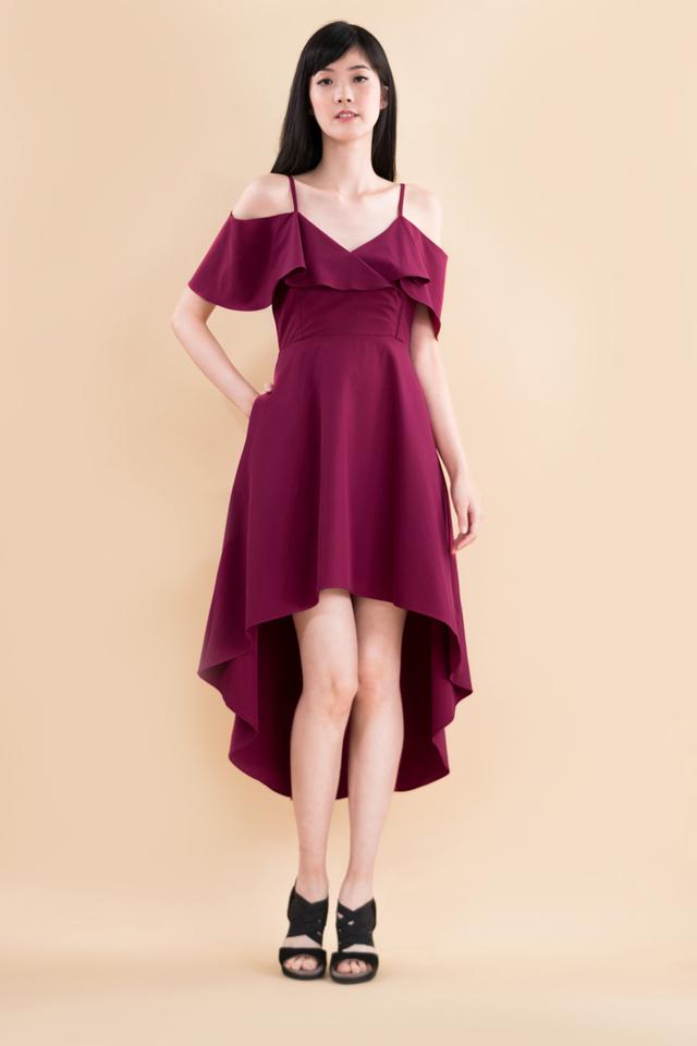 Arden Midi Dress in Deep Magenta