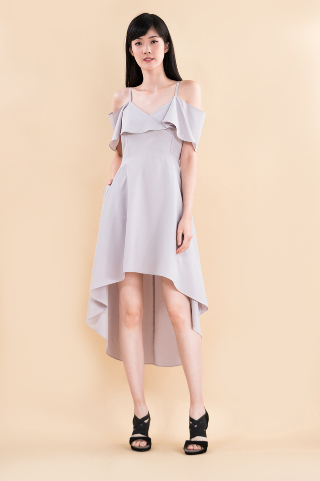 Arden Midi Dress in Light Grey