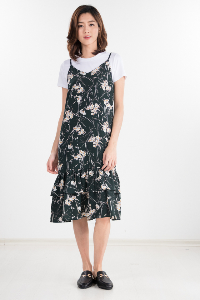 Restocked Laelia 2-Piece Floral Dress in Forest Green
