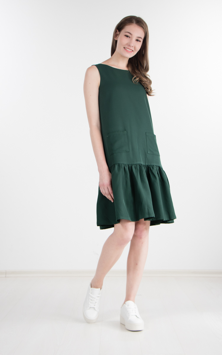 95ddb53f06f Feline Drop Waist Dress in Forest Green