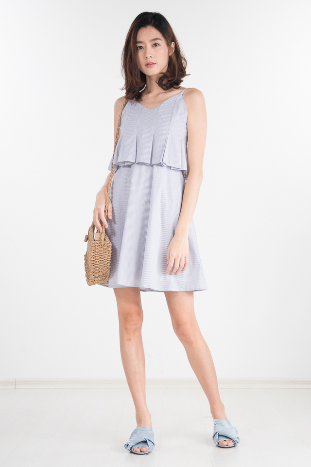 Felika Striped Dress in Grey (Size L only)