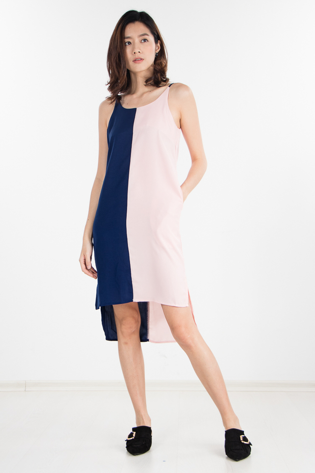 Sofia Colourblock Dress in Navy Blue