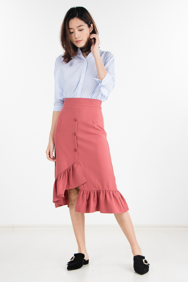 Olga Ruffled Skirt in Chestnut Rose
