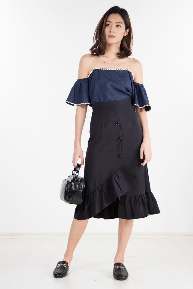 Olga Ruffled Skirt in Black