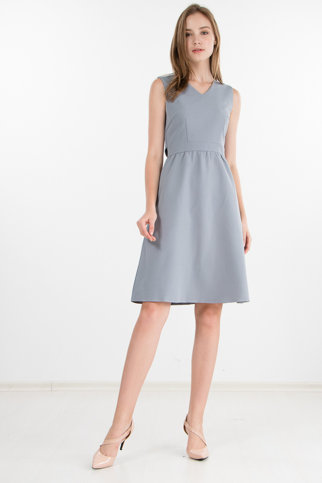 Delphine Cape Dress in Grey Frost (Size XS)