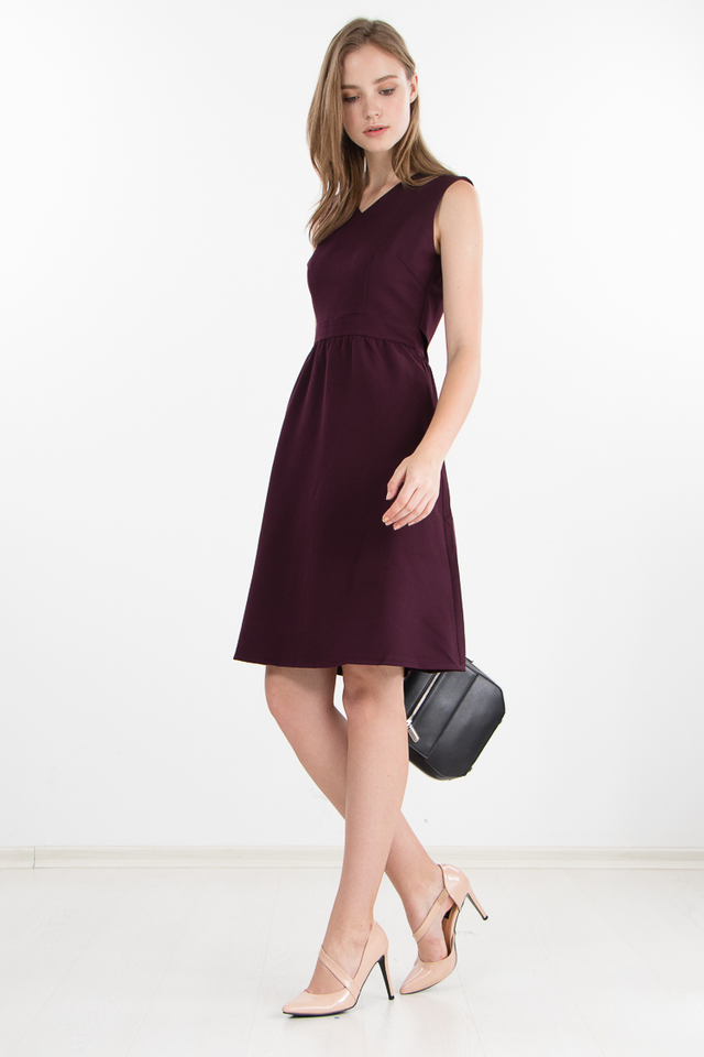Delphine Cape Dress in Berry (Size XS/S only)