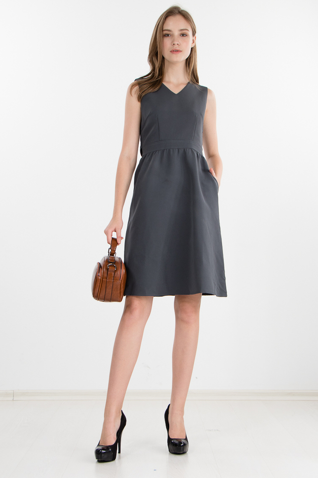 Delphine Cape Dress in Grey (Size XS)