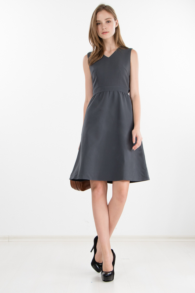Delphine Cape Dress in Grey (Size XS)