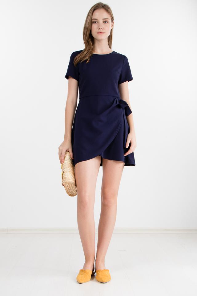Restocked Carrey Dress in Navy Blue