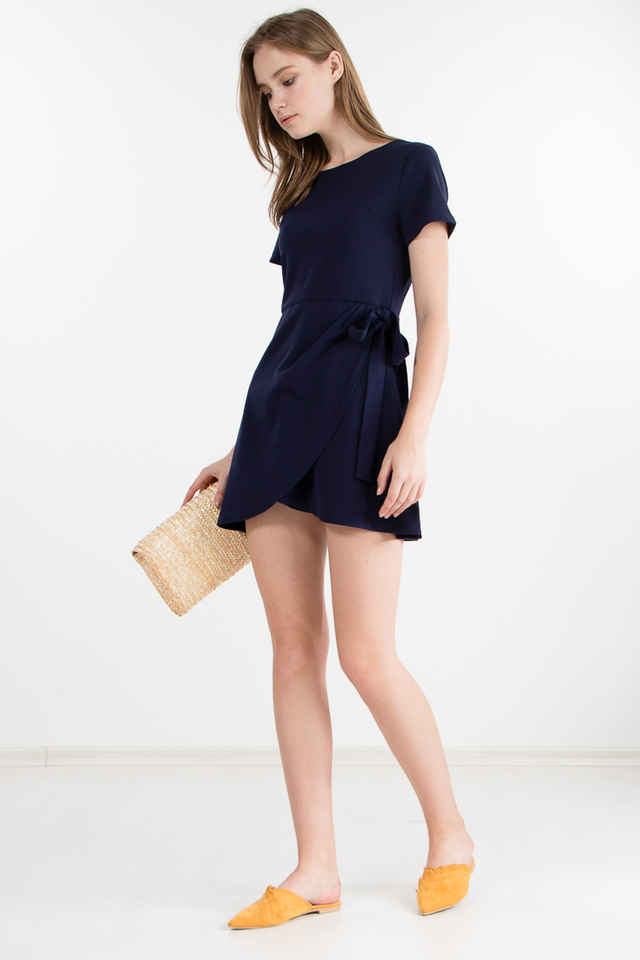 Restocked Carrey Dress in Navy Blue