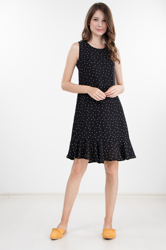Kacy Polka Dotted Dress in Black