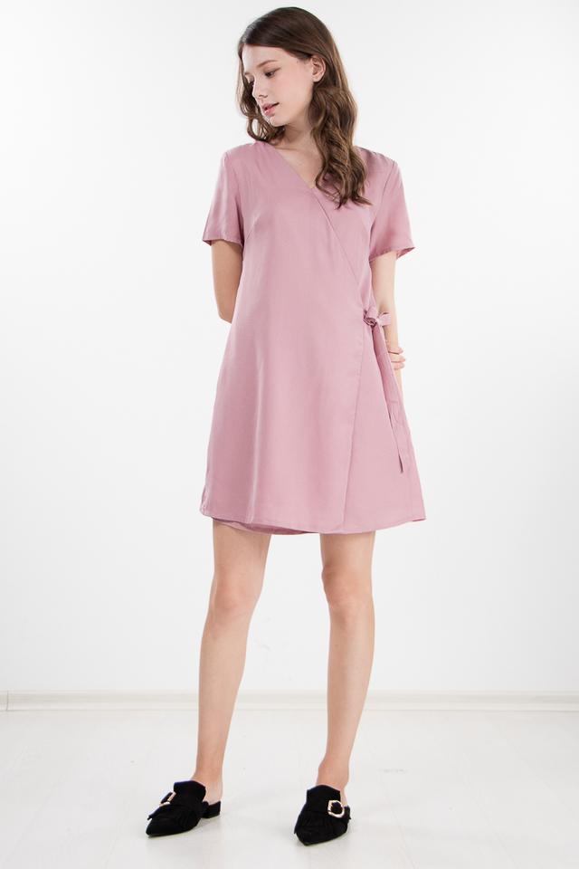 Caren Wrap Dress in Pink