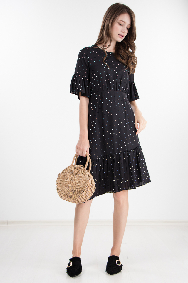 Abena Polka Dot Pleated Dress in Black