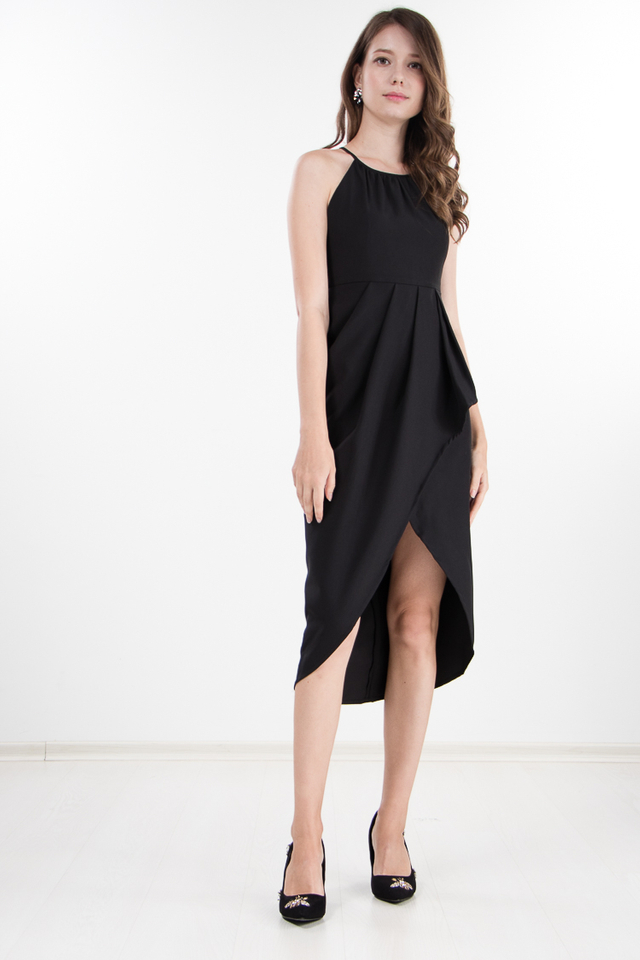 Daveney Midi Dress in Black