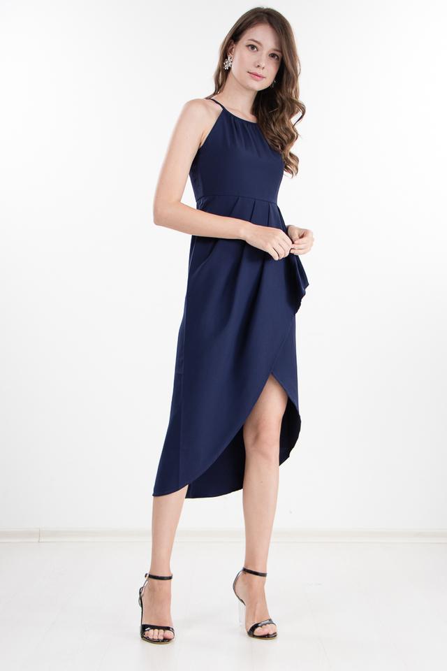 Daveney Midi Dress in Navy Blue