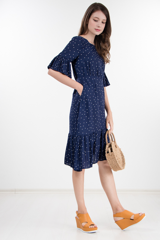 Abena Polka Dot Pleated Dress in Navy Blue