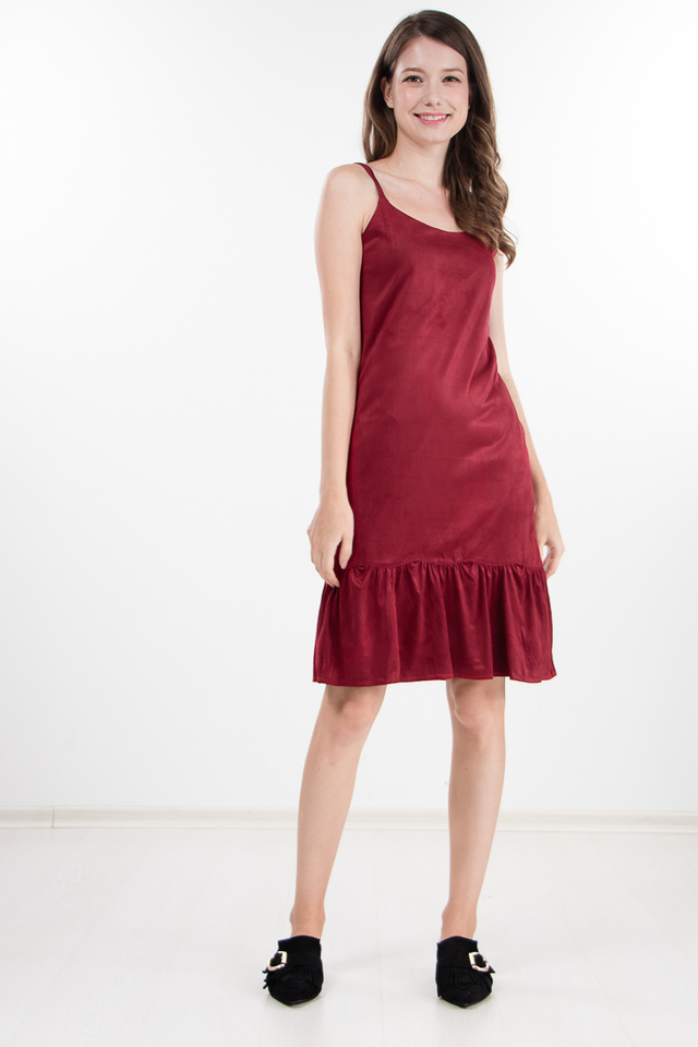 Xaviera Suede Dress in Red
