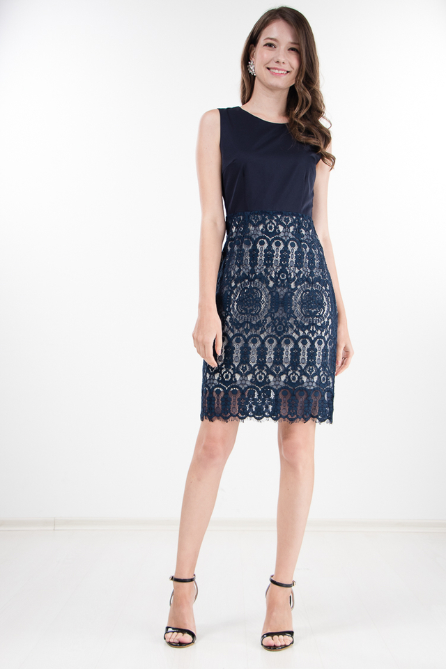 Grady Lace Dress in Navy Blue