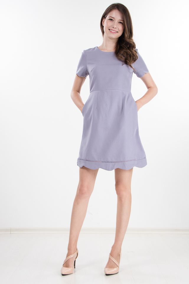 Keeva Scallop Dress in Lavender Grey