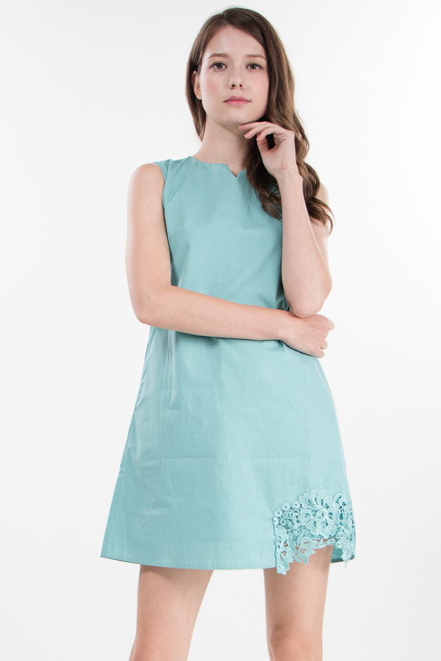 Nerra Crochet Shift Dress in Mint